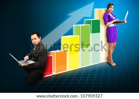Business team on the Big Graph