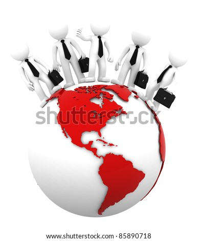 Business team on top of the globe. American side. Conceptual business illustration. Isolated - stock photo