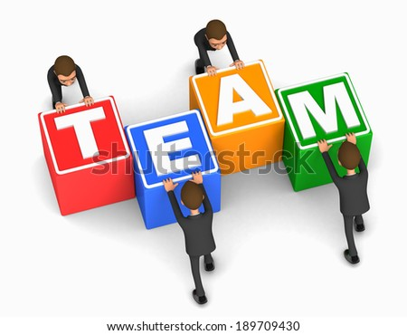 business team on white background - stock photo