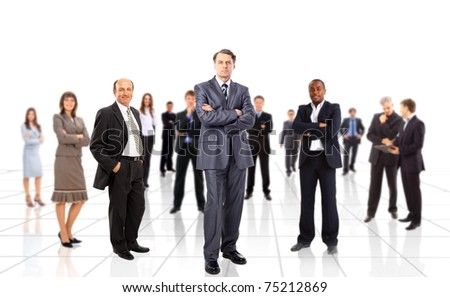 Business team people group crowd full length stand isolated on white background - stock photo