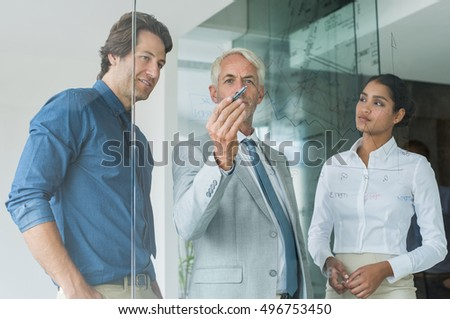 Business team planning a new strategy standing in front of glass wall. Leaderhip thinking while drawing graph on glass. Business team discussing about growth with help of statistics during a meeting.