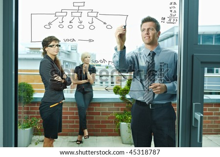 Business team planning, businessman thinking drawing diagram on window. Outdoor of office on terrace. - stock photo