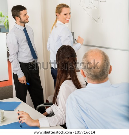 Business team planning strategy on whiteboard in boardroom meeting - stock photo