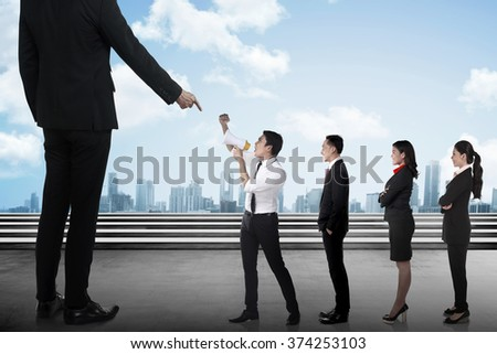 Business team protest to the boss using megaphone. Business communication concept