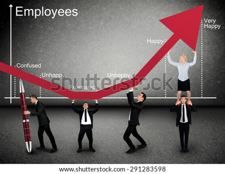 Business team push Employees graphic arrow up - stock photo
