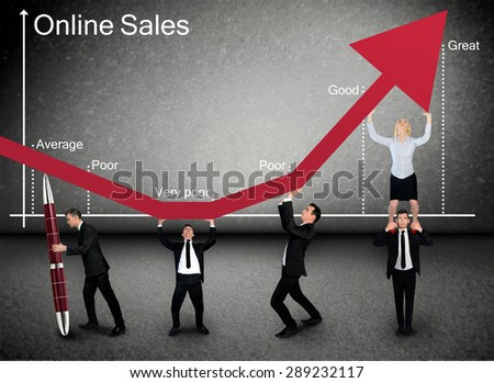 Business team push Online Sales graphic arrow up