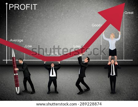 Business team push Profit graphic arrow up - stock photo