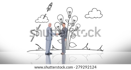 Business team shaking hands against white background with vignette - stock photo