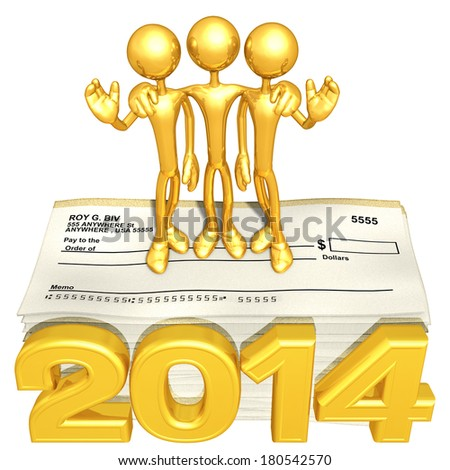 Business Team Standing On Blank Checks With The Year - stock photo