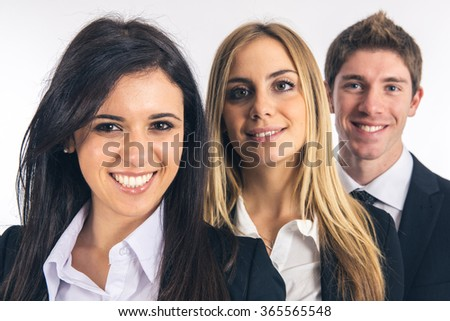 Business team standing togetherness - stock photo
