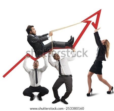 Business team support the director in his climb - stock photo