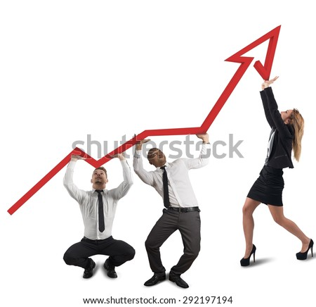 Business team supports with difficulty the company - stock photo