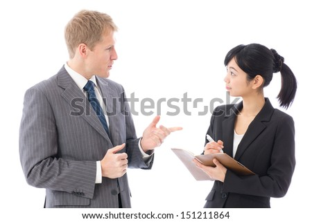 business team talking on white background - stock photo