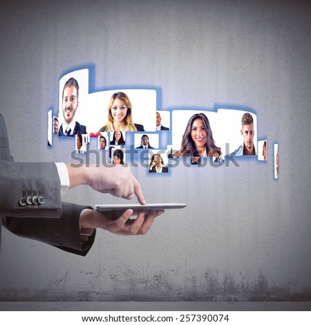 Business team talks about working in videoconference - stock photo