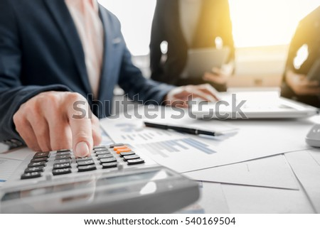 Young man woman startups business meeting stock photo Meeting space calculator