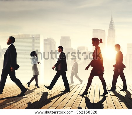 Business Team Walking Teamwork Cityscape Concept - stock photo