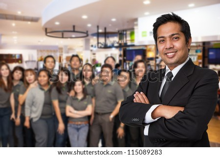Business team welcome on office background