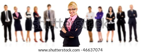 Business team with a blond woman with glasses leader