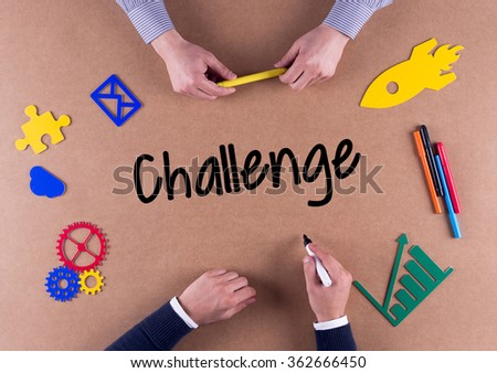 Business Team with a single word Challenge - stock photo