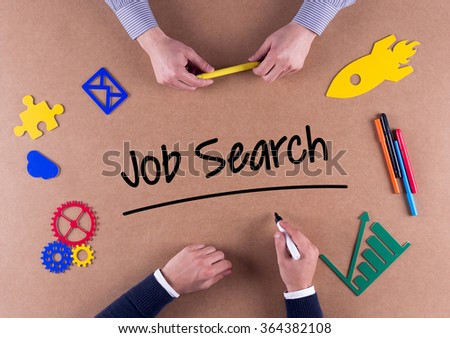 Business Team with a single word Job Search - stock photo