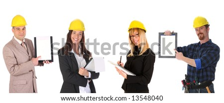 business team with blueprint and documents on white background - stock photo