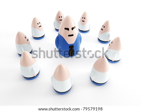 business team with boss ahead, symbolic 3d rendering - stock photo