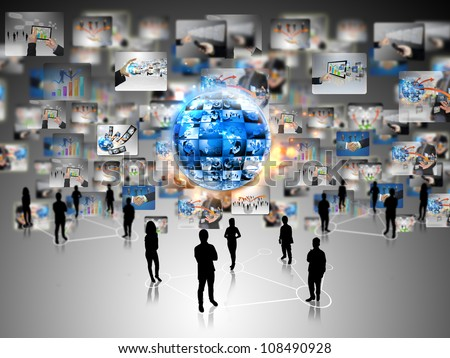 Business team with business world - stock photo
