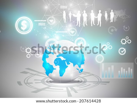 Business team with business world. - stock photo