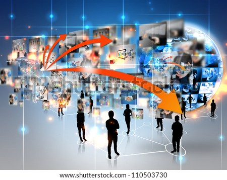 Business team with business world , connected - stock photo