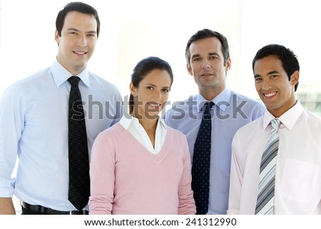 Business team with Caucasian and Hispanic people