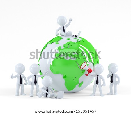 Business team with globe. Business concept. Isolated on white background
