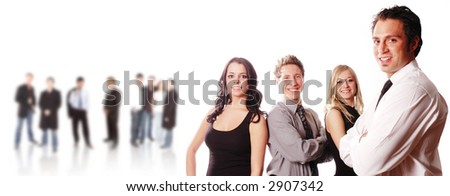 business team with its members are posing - stock photo