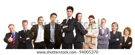 Business team with many different happy lawyers - stock photo