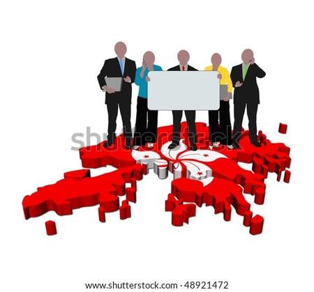business team with sign on Hong Kong map flag illustration