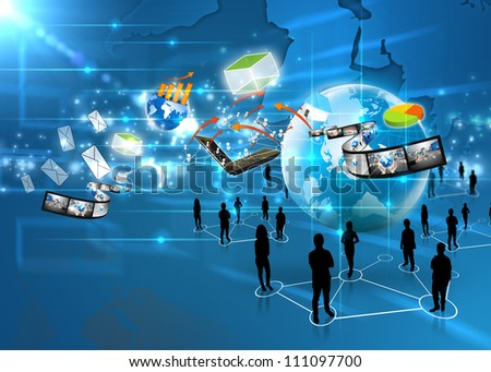 Business team with social media - stock photo