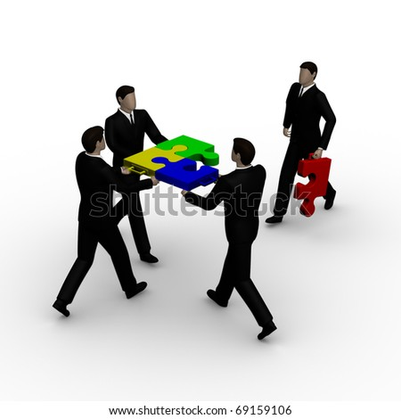Business team work building a puzzle isolated over a white background - stock photo