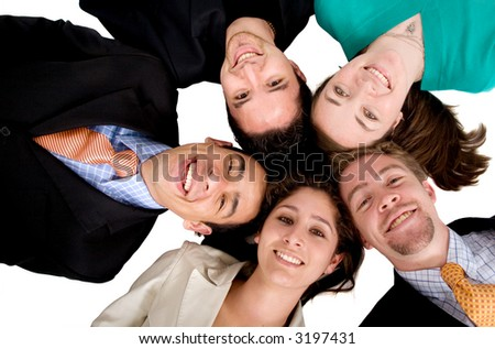 business team work - heads together over a white background