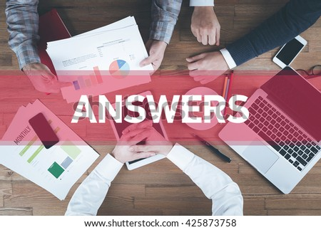 Business team working and Answers concept - stock photo