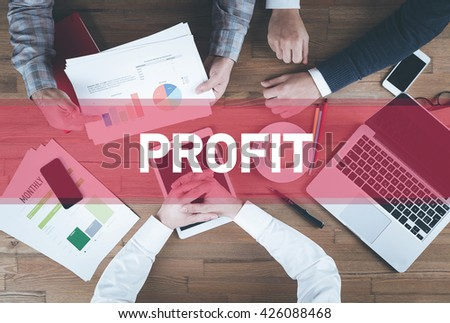 Business team working and Profit concept - stock photo