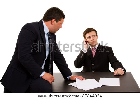 business team working at a desk, isolated on white