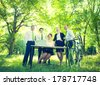 Business Team Working in Green Outdoor Office - stock photo