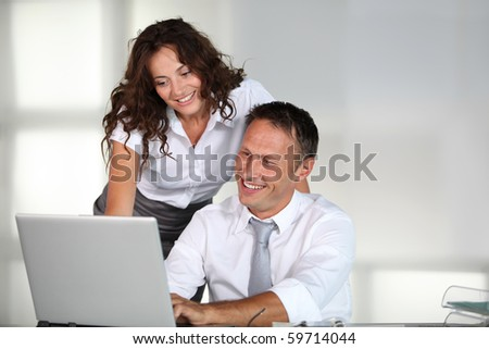 Business team working on project - stock photo