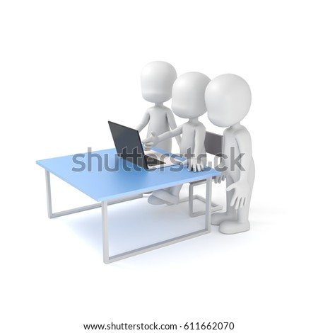 Business team working together 3d rendering