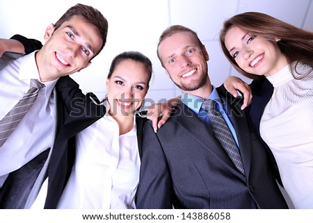 Business team working together in office close up - stock photo