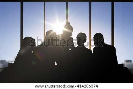 business, teamwork and people concept - business people silhouettes over office background
