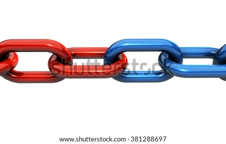 Business teamwork, collaboration and partnership concept with a solid steel chain and rings in two different colors illustration isolated on white background.