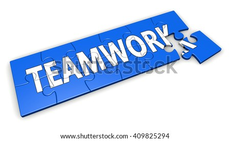 Business teamwork, collaboration and team concept with word on a blue puzzle 3D illustration isolated on white background. - stock photo