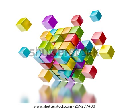 Business teamwork collaboration communication concept - colorful color cubes assembling into  cubic structure isolated on white with reflection - stock photo