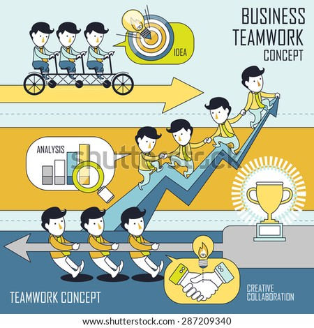 business teamwork concept set in line style - stock photo