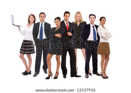 business teamwork concept with business people together on white